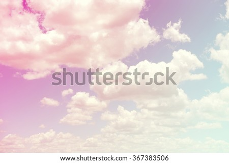 Vintage sky background with white clouds
