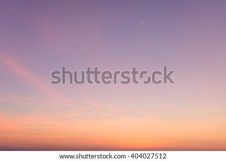 Vintage sky cloud background at dusk with crescent moon - stock photo