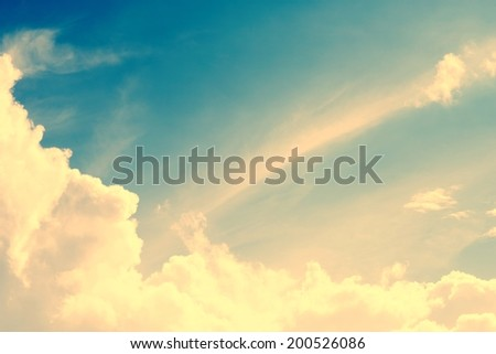Vintage sky with cloud,sun light - stock photo