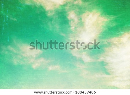 Vintage sky with clouds and sun. - stock photo