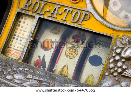 Vintage slot machine - stock photo