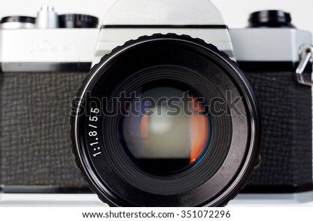 Vintage SLR camera. Close up. - stock photo