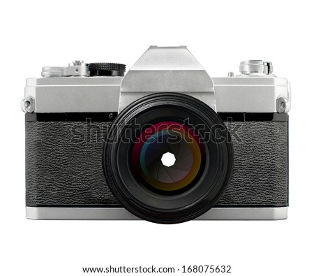 Vintage SLR film camera with prime lens stopped down aperture blades , no branding - stock photo
