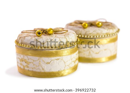 Vintage small ceramic jewelry box made of ceramic perfect design and realism with isolated on white background. - stock photo
