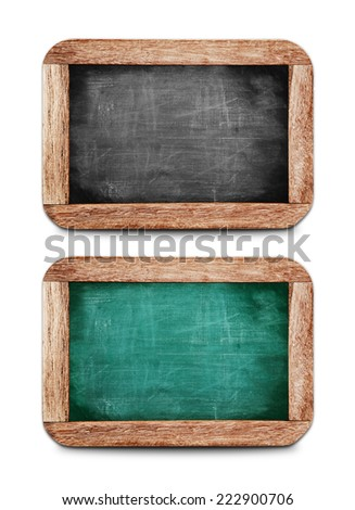 Vintage small chalkboards set on white background