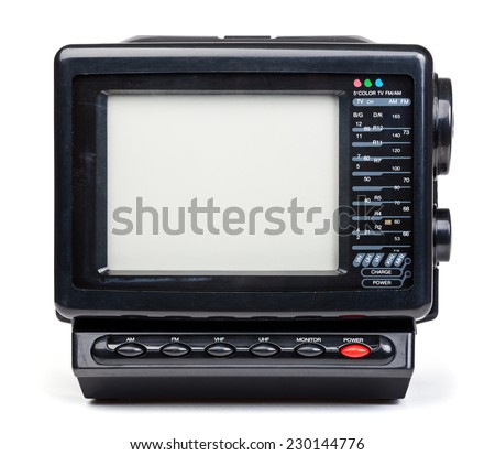 Vintage small portable color TV set with radio on white background - stock photo
