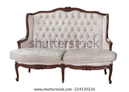 vintage sofa in isolated background with clipping part for easy to use. - stock photo