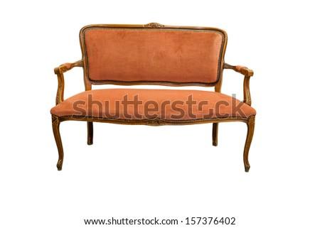 Vintage Sofa isolated on white background - stock photo