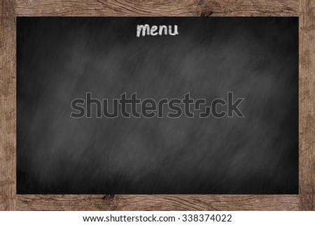 vintage space chalk board background texture with old vintage wooden frame for food/drink cafe menu, space blackboard for backgrounds, food and drink conceptual.horizontal landscpae display style - stock photo