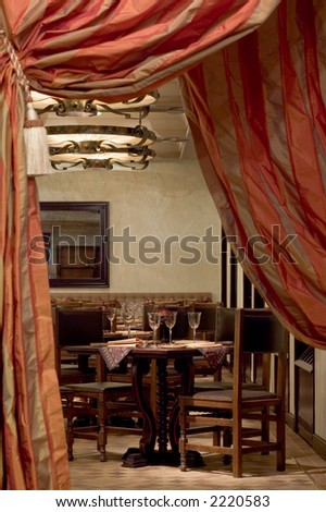 Vintage Spanish Restaurant Entrance Doorway With Red Curtain