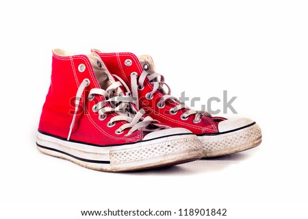 vintage sports red shoes - stock photo