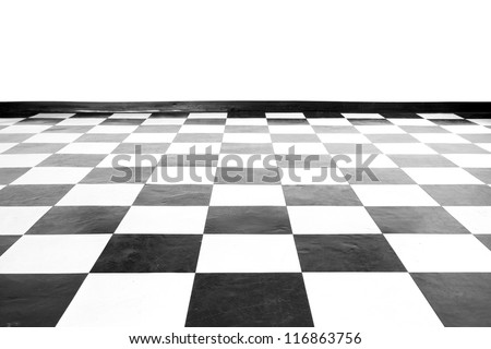 Vintage square black and white floor with wall - stock photo