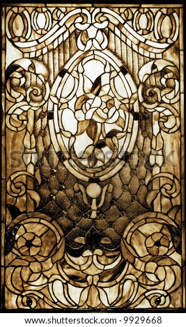 Vintage stained-glass window - stock photo