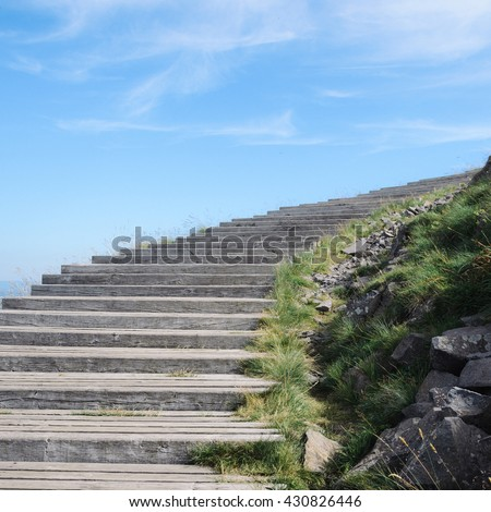 Vintage stair, beware your step to step, ancient stairway on a hill - stock photo