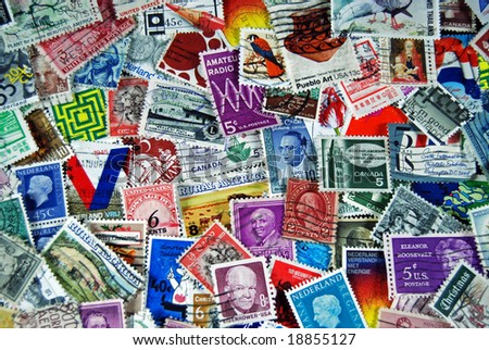 vintage stamp collection - stock photo