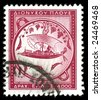 vintage stamp depicting ancient Greek sailing ship - stock photo
