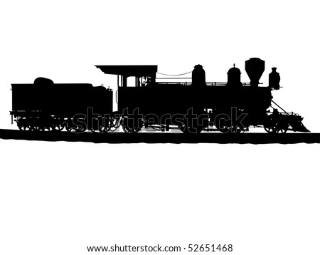Vintage steam train silhouetted on white