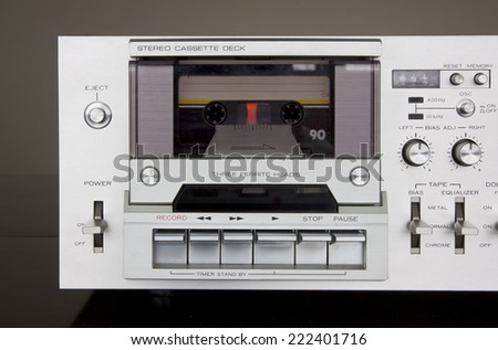 Vintage Stereo Cassette Tape Deck Recorder Front Closeup - stock photo