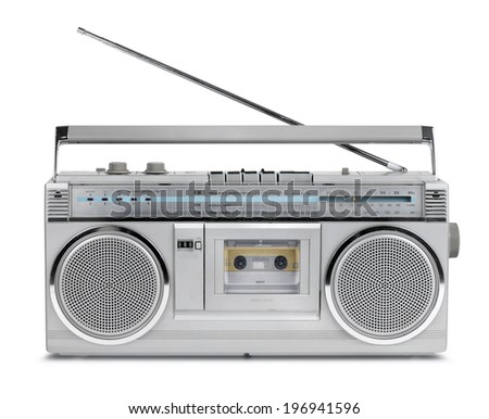 Vintage stereo radio cassette player of 80s isolated - stock photo