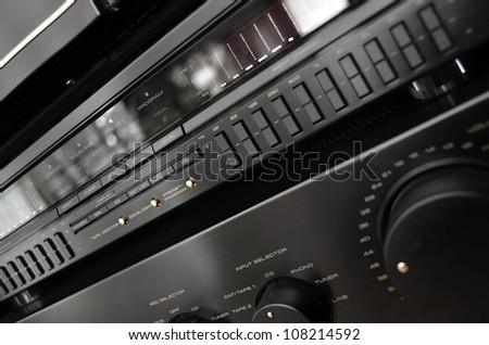 Vintage stereo system close up, amplifier and equalizer - stock photo