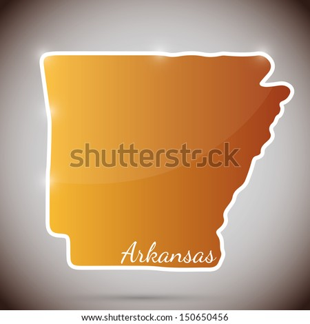 vintage sticker in form of Arkansas state, USA - stock photo