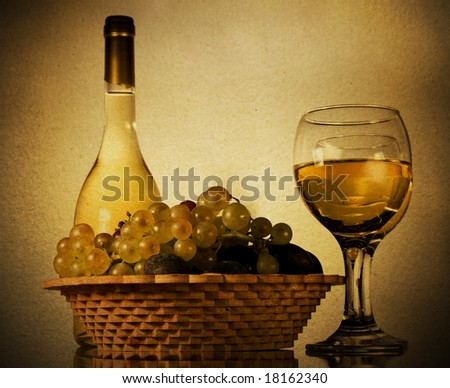 Vintage still life with grapes and wine