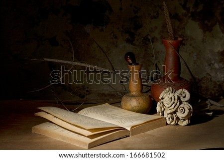 Vintage still life with old book