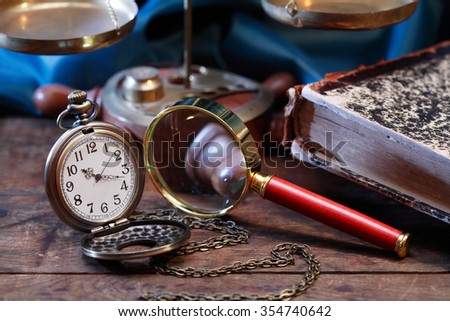 Vintage still life with old pocket watch and other things - stock photo