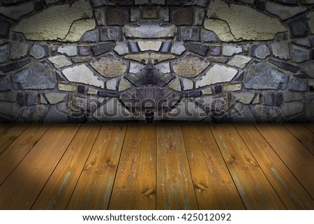 Vintage stone wall and wood floor texture - stock photo