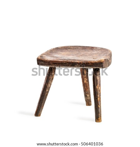 Vintage stool isolated on white background. Antique three legs chair.  Single object with clipping - Three Legged Stool Stock Images, Royalty-Free Images & Vectors