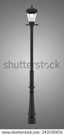 vintage street lamp isolated on gray background - stock photo