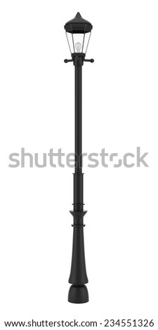 vintage street lamp isolated on white background