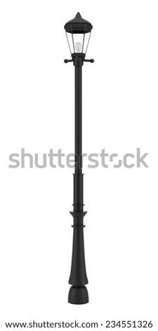 vintage street lamp isolated on white background - stock photo