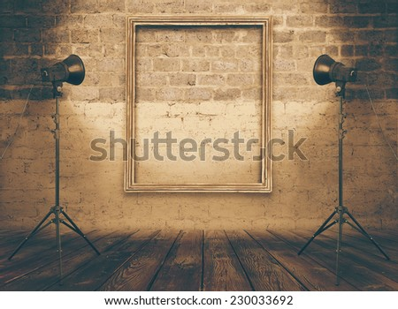 vintage studio room, background with retro photo frame, retro filtered, instagram style - stock photo