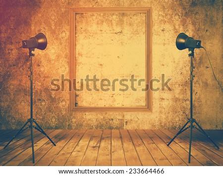 vintage studio room, background with retro photo frame, retro filtered, instagram style - stock photo