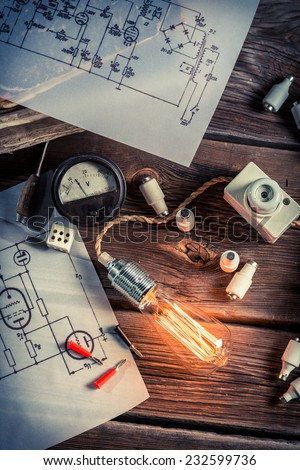 Vintage study of electric current - stock photo