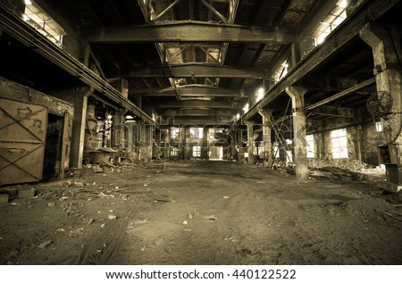 Vintage style - Abandoned metallurgical factory interior and building waiting for a demolition.