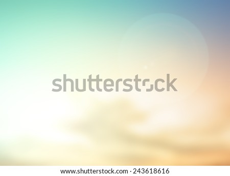 Vintage style. Abstract blurred textured background: yellow and green patterns. Blurred autumn background. Sandy beach backdrop with turquoise water and bright sun light. Summer holidays concept. - stock photo