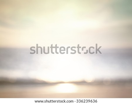Vintage style. Abstract blurred textured background: yellow orange green patterns. Sandy beach backdrop with turquoise water and bright sun light. Summer holidays concept. - stock photo