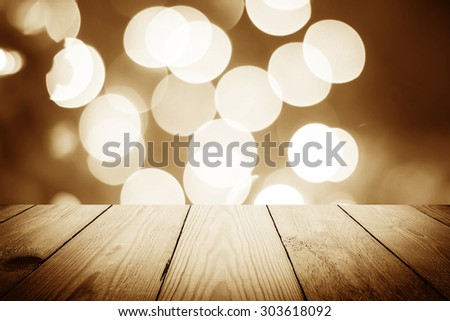 Vintage style - Abstract bokeh of light and wood background - stock photo