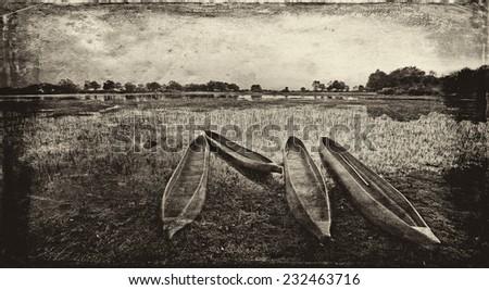 Vintage style black and white image of a sunrise over the Okavango Delta, Botswana - stock photo