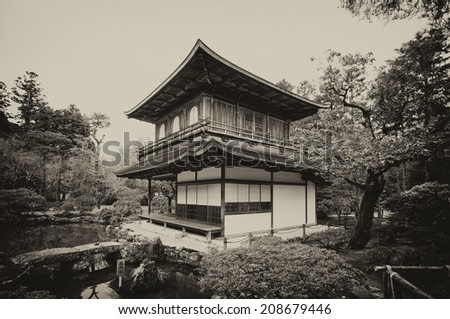 Vintage style black and white image of the Ginkakuji Temple (The Silver Pavilion) in Kyoto, Japan - stock photo