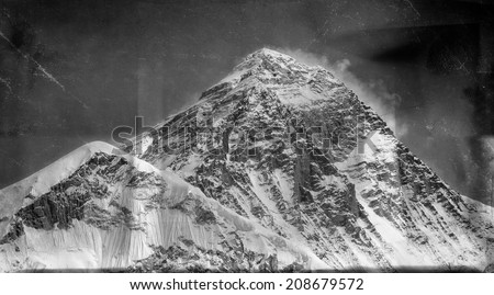 Vintage style black and white image of the world's highest mountain, Mt Everest (8850m) in the Himalayas, Nepal. - stock photo
