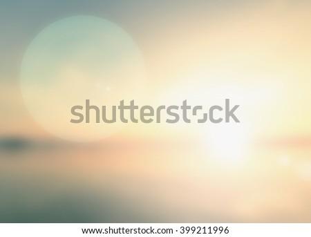 Vintage Style Blur Bright Sun 2017 Sand Sea Bokeh Flare Surf Soft Zen Glow Ocean Wave Clear Retro Aqua Relax Shine Light Clean Pastel Fresh Smooth Orange Horizon Air Park Gradient Blue Spa Natural. - stock photo