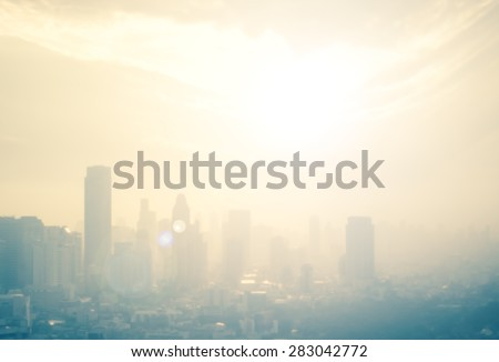 Vintage style. Blurred sunrise over city background with circle light. blur background concept. - stock photo