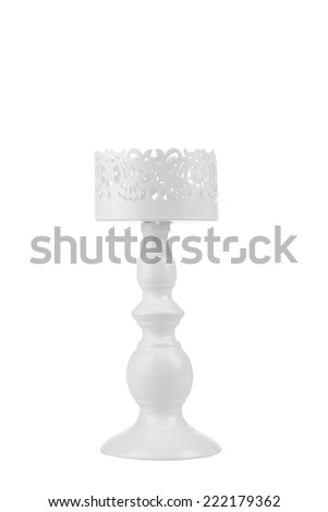 vintage style candle stand isolate on white background - stock photo