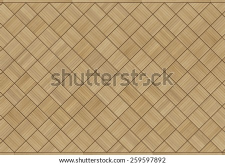 vintage style coffered oak parquet floor - stock photo