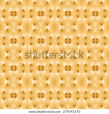 Vintage style golden color sofa cloth texture with buttons  pattern background, abstract, wallpaper - stock photo