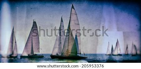 Vintage style image of a sailing regatta on the sea - stock photo