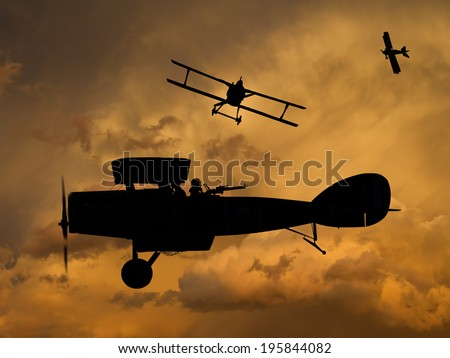 Vintage style image of a World War One fighter aircraft, Brtish and German. (Artist impression) - stock photo